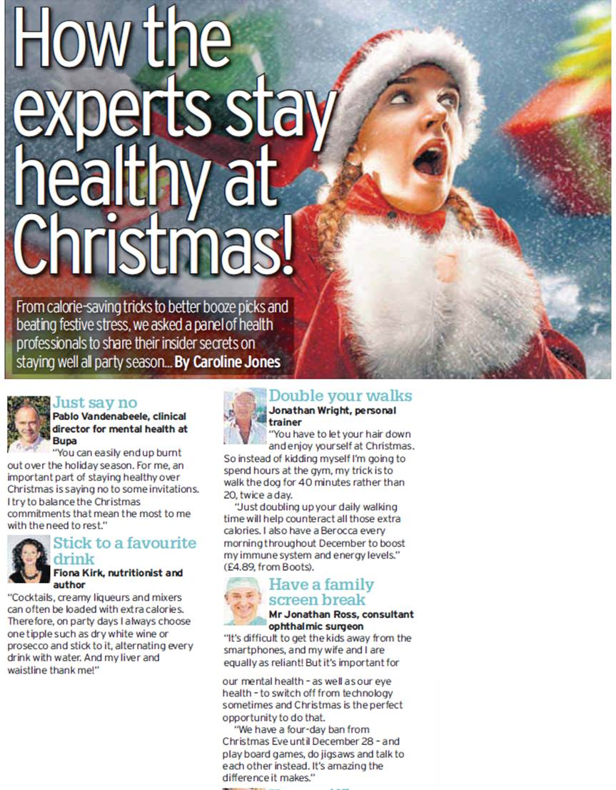 How to stay healthy this Christmas – Daily Telegraph article